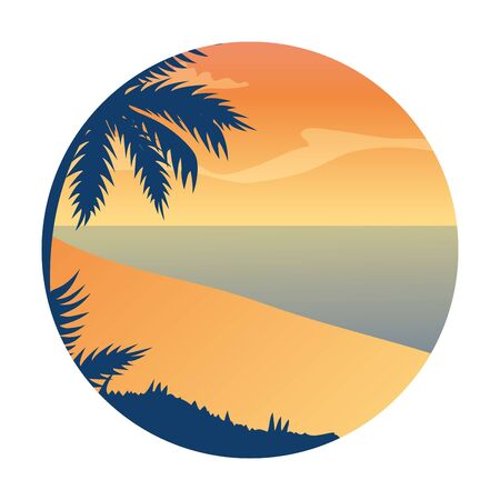 summer landscape with tree palm exotic and sea vector illustration design