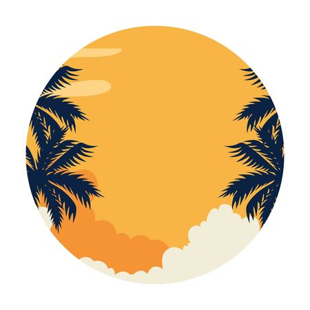summer landscape with tree palm exotic vector illustration design