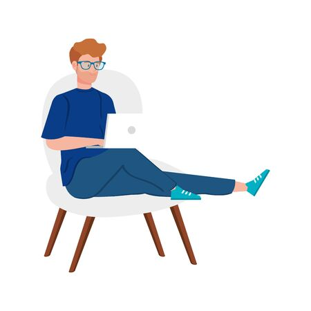 man working in telecommuting with laptop sitting in chair vector illustration design
