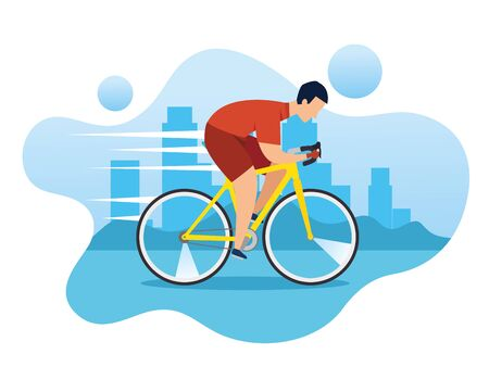 man in bike in championship racing vector illustration design