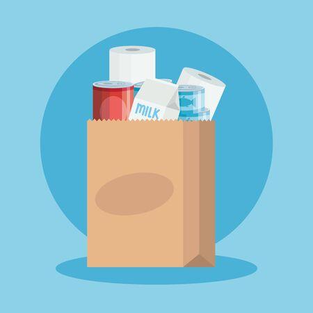 bag paper with set groceries icons vector illustration design Illustration
