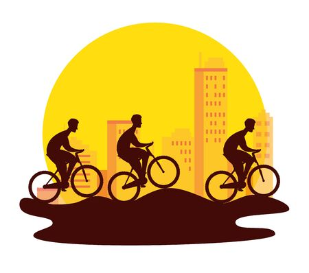 silhouette group of cyclists in championship vector illustration design  イラスト・ベクター素材
