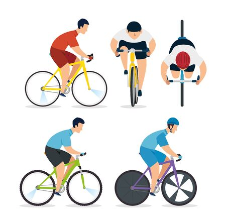 group of men in bike of championship racing vector illustration design