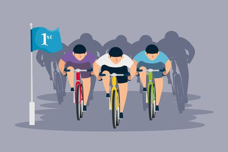 group of cyclists in championship vector illustration design  イラスト・ベクター素材