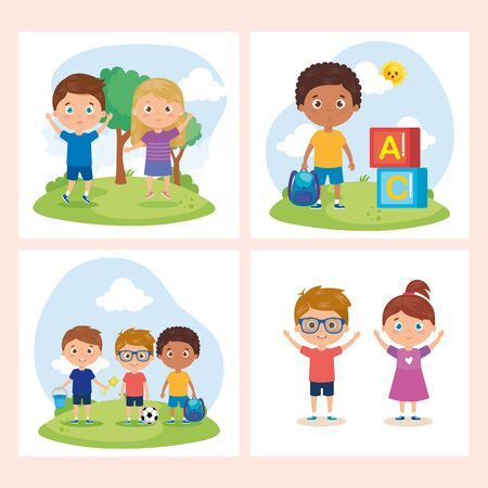 set of card with children students with school supplies , back to school vector illustration design Stock Illustratie