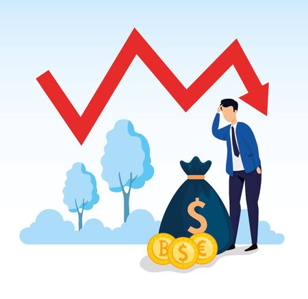 stock market crash with businessman worried and icons vector illustration design