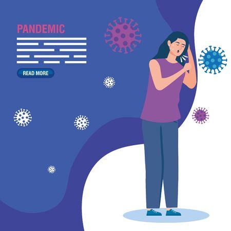 sick woman of pandemic coronavirus 2019 vector illustration design