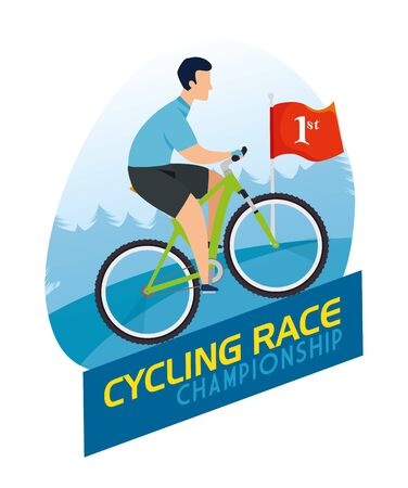 cycling race championship poster with man in bike vector illustration design  イラスト・ベクター素材