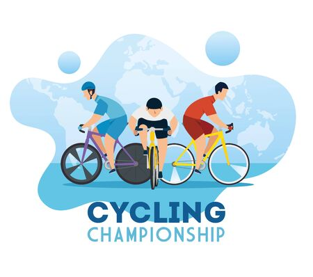 cycling championship poster with cyclists vector illustration design  イラスト・ベクター素材