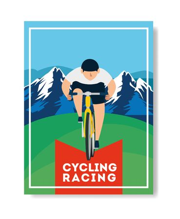 cycling racing poster with man in bike and landscape vector illustration design  イラスト・ベクター素材