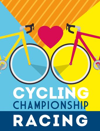 cycling championship racing poster with bikes and heart vector illustration design