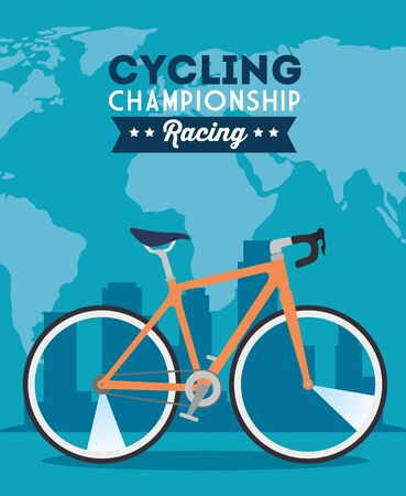 cycling championship racing poster with bike decoration vector illustration design