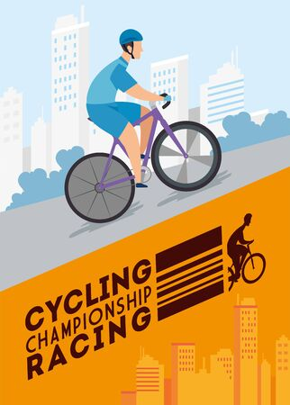 cycling championship racing poster with man in bike vector illustration design  イラスト・ベクター素材