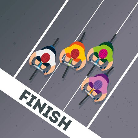 view aerial of group cyclists in championship vector illustration design