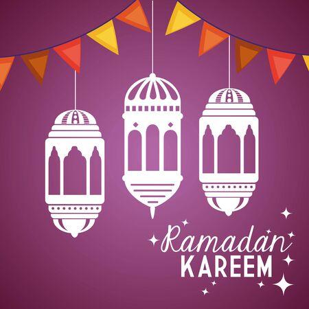 ramadan kareem poster with lanterns and garlands hanging vector illustration design 向量圖像