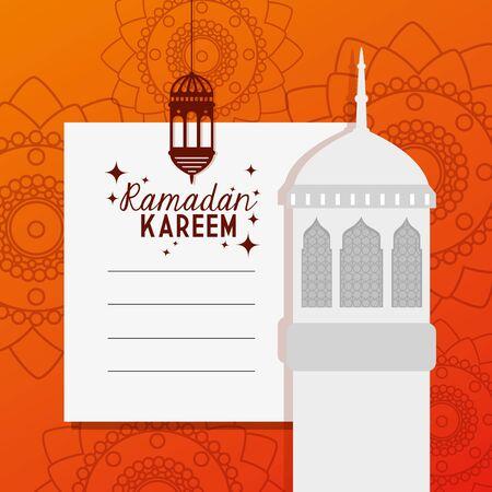 ramadan kareem card with mosque facade and lantern hanging vector illustration design