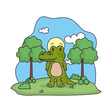 cute crocodile in the landscape vector illustration design