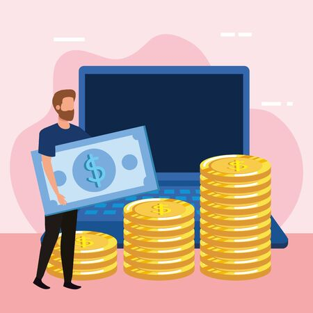 young man with money and laptop vector illustration design