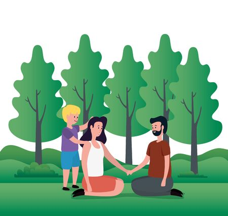 parents couple with little son on the park characters vector illustration design 向量圖像