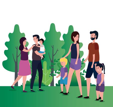 group of parents with kids on the park vector illustration design 向量圖像