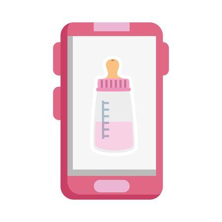 baby bottle milk in smartphone isolated icon vector illustration design 向量圖像