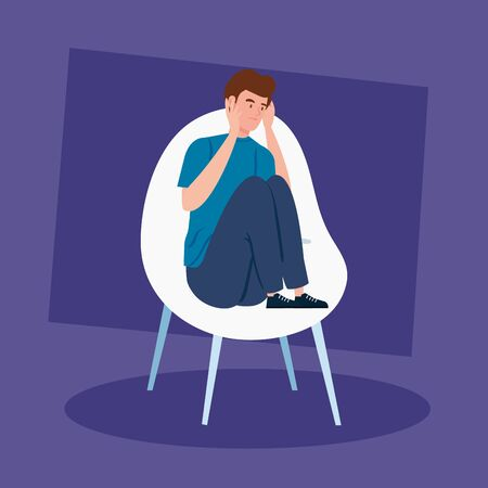 man sitting in chair with stress attack vector illustration design
