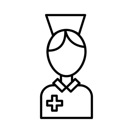 nurse woman professional , line style icon vector illustration design 向量圖像