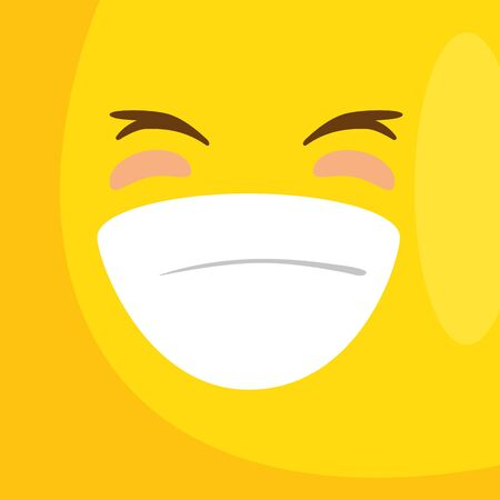 background with emoticon smiling icon vector illustration design  イラスト・ベクター素材