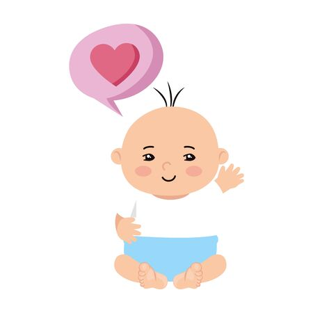 cute little baby boy with heart in speech bubble vector illustration design