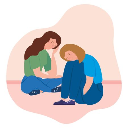 women sitting with stress attack vector illustration design