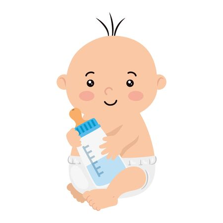 cute little baby boy with bottle milk isolated icon vector illustration design Vetores