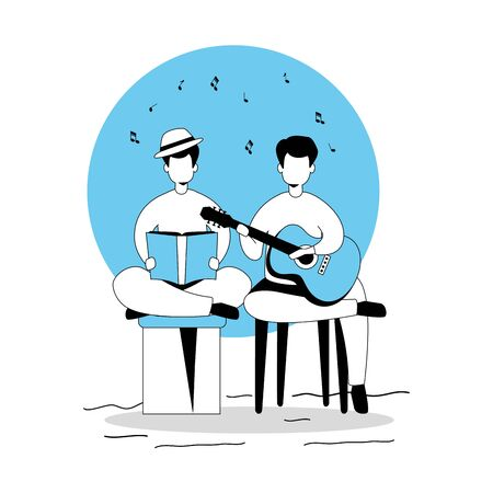 men with guitar and book isolated icon vector illustration design