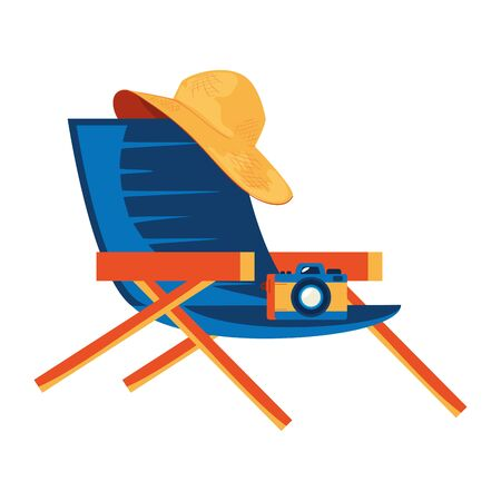 summer chair with camera and hat female vector illustration design Illustration