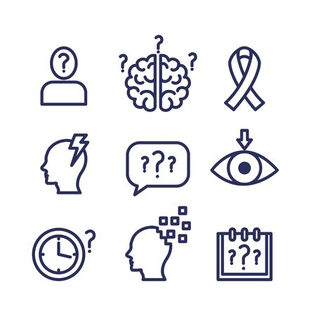 bundle of world alzheimer day icons vector illustration design