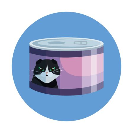food cat in can with frame circular vector illustration design