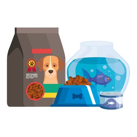 food for dog in bag and icons vector illustration design 向量圖像