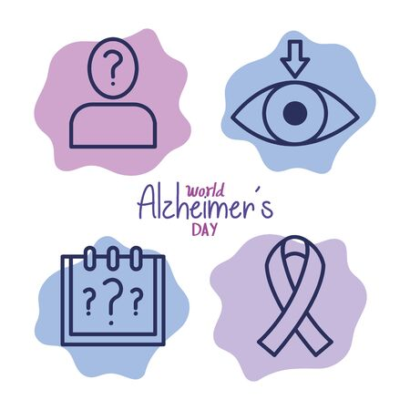 world alzheimer day with icons decoration vector illustration design