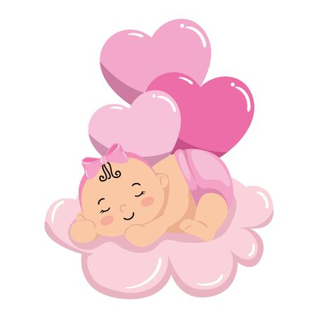 cute little baby girl sleeping in cloud with balloons helium vector illustration design 向量圖像