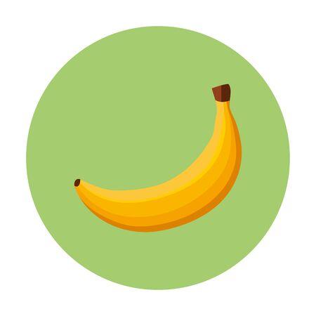 fresh banana fruit in frame circular vector illustration design Illustration