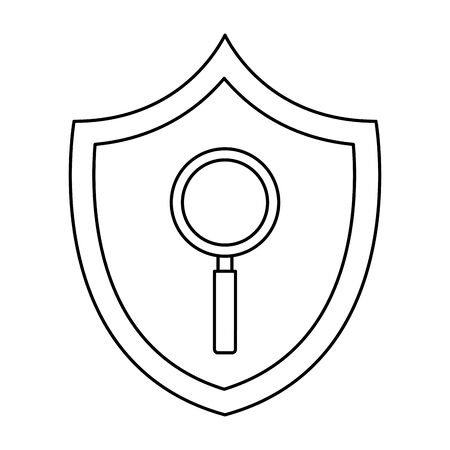 magnifying glass in shield isolated icon vector illustration design  イラスト・ベクター素材