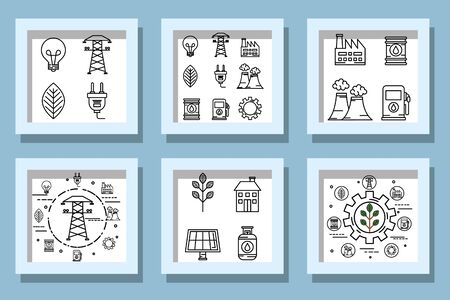 bundle designs of ecofriendly icons vector illustration design 向量圖像