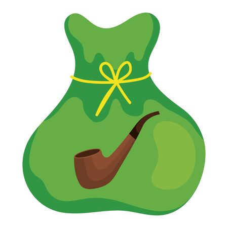 bag of money with pipe smoking vector illustration design