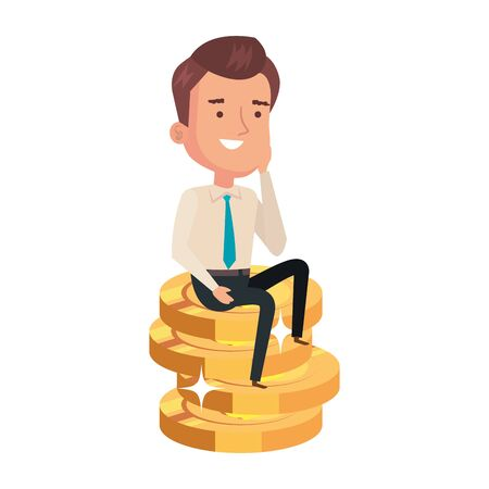 pile coins with businessman isolated icon vector illustration design