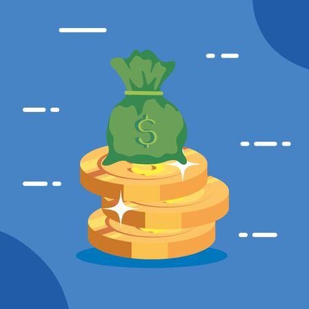 pile coins with bag cash vector illustration design
