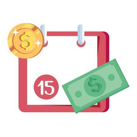 coin with calendar reminder and bill cash vector illustration design
