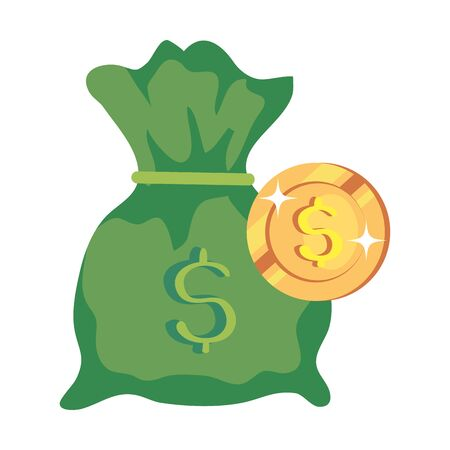coin money with money bag isolated icon vector illustration design 向量圖像