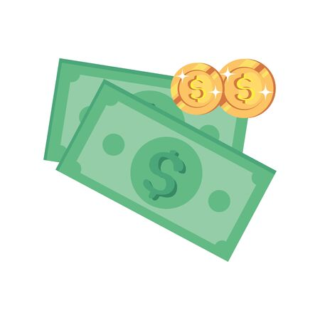 bills money and coins isolated icon vector illustration design 向量圖像