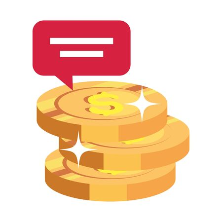 pile coins with speech bubble isolated icon vector illustration design 向量圖像