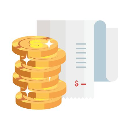 paper voucher with pile coins isolated icon vector illustration design