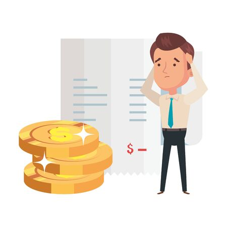 pile coins with businessman and voucher paper vector illustration design